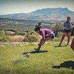 Girls practice sport